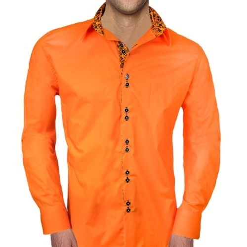 Orange and Black Dress Shirt