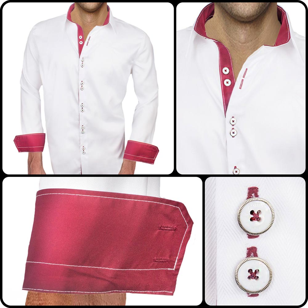 White Maroon Casual Shirts