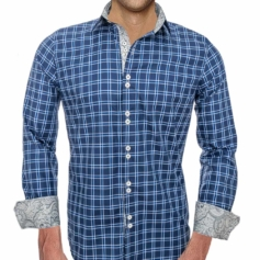 Blue Plaid Casual Dress Shirts