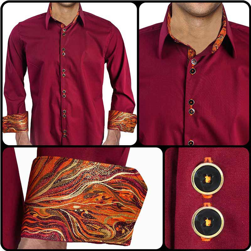 Maroon-with-Orange-Dress-Shirt
