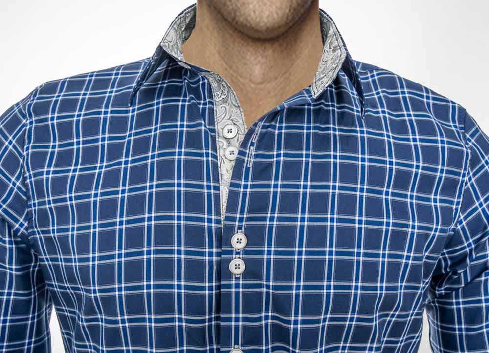 Blue Plaid Casual Dress Shirts