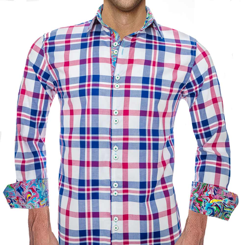 Casual Pink And Blue Plaid Shirts