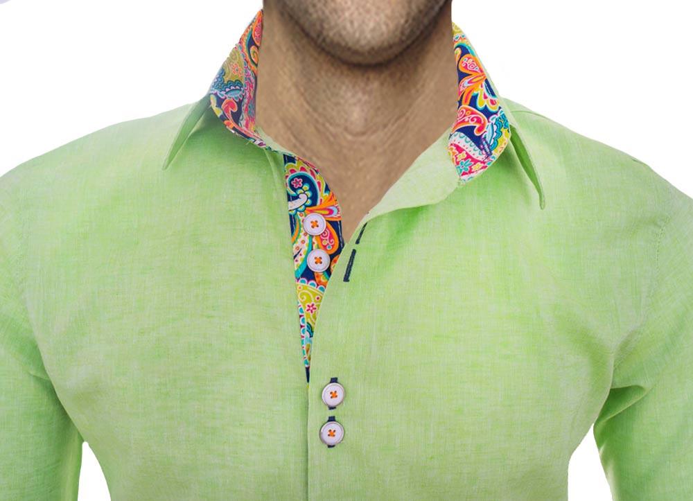 Lime Green Designer Mens Shirts