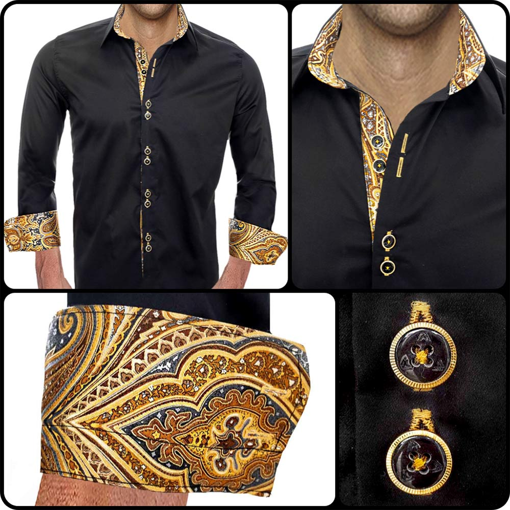 Black with Gold Dress Shirts