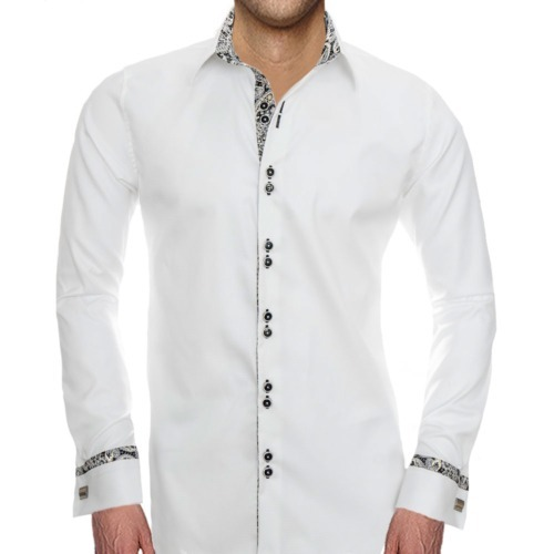 White with Black French Cuff Shirts