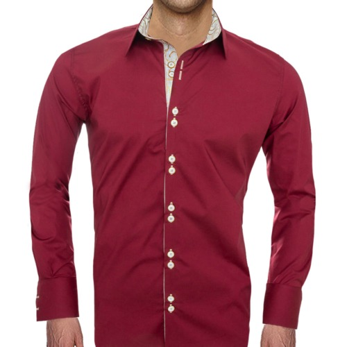 Burgundy and Gold Dress Shirts